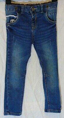 Boys TU Classic Blue Whiskered Distressed Denim Straight Leg Jeans Age 2-3 Years