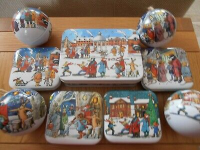 """Emma Bridgewater """"Winter Scene"""" Pocket Tin.Set Of 2..With Jelly Beans..Reduced!"""