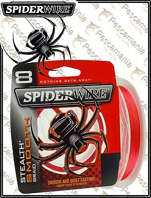 Spiderwire Stealth Smooth 8 Red 150m 0.05mm-0.23mm Tresse NEUF 2020