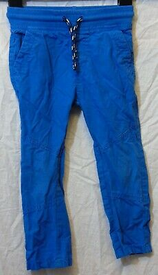 Boys M&S Royal Blue Panelled Ribbed Stretch Waist Cotton Trousers Age 2-3 Years