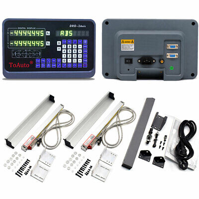 """2 Axis Digital Readout DRO Display+8""""&38"""" Linear Scale Kit Encoder Mill Lathe US"""