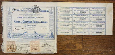 1880 France / French Canal Interoceanique Panama Tax Revenue Stamps #591,935