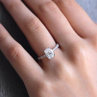 2.Ct Oval Cut Diamond Solitaire /& Accent Engagement Ring 14K White Gold Finish
