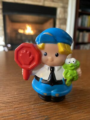 Fisher Price Little People Bus Driver Police Officer Policeman Eddie Stop Sign