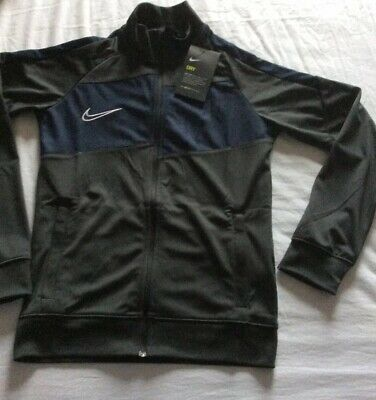 Boys Nike Dri-Fit Zipper Track Top Jacket Grey Blue Size M 8-10 Years New Gift