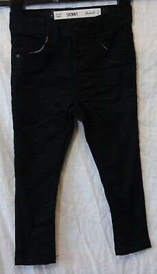 Boys Primark Plain Black Whiskered Denim Stretch Skinny Fit Jeans Age 3-4 Years