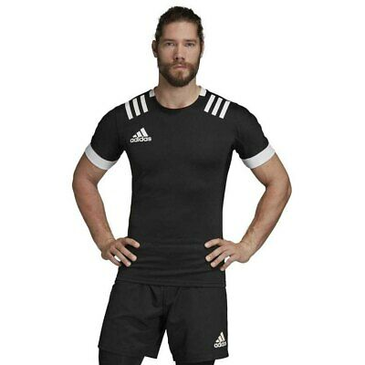 Rugby Shirt Adidas Mens 3 Stripes Fitted Top Teamwear Match Jersey 3S Black