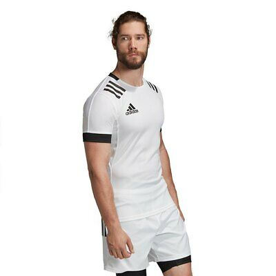 Rugby Shirt Adidas Mens 3 Stripes Fitted Top Teamwear Match Jersey 3S White