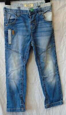 Boys Next Blue Whiskered Denim Vintage Look Distressed Panel Jeans Age 2-3 Years