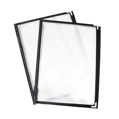 2Pcs Transparent Restaurant Menu Covers for A4 Size Book Style Cafe Bar 3 P J2N3