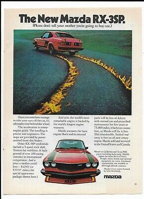 1977 Red New Mazda RX-3SP Print Ad ~ Don't Tell Mother You're Going to Buy One!