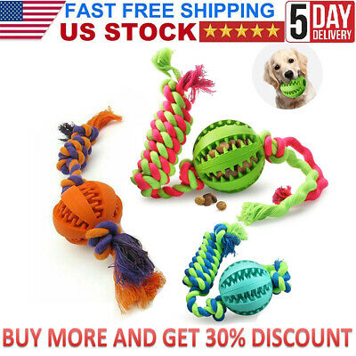 Rubber Indestructible Dog Ball on Rope Puppy Chew Toy Outdoor Training Balls US
