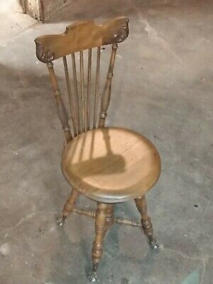 Beautiful Antique Wooden Piano Organ Stool with High Back & Glass Ball Claw Feet