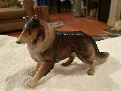 Vintage Ceramic Collie Figurine with Bisque Finish Standing Finely Detailed 4.5""