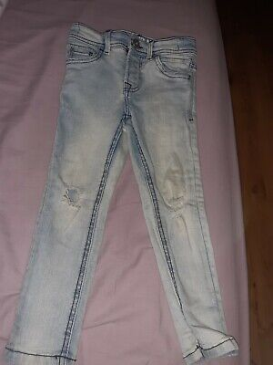 Boys Age 4 Years Skinny Light blue Jeans From Matalan Ripped Design
