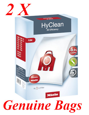 Miele Genuine FJM HyClean Vacuum Bags & Filters, 2 packets 8 Bags Compact C2
