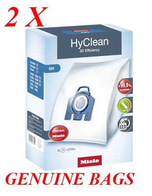Miele Genuine GN HyClean Vacuum Bags & Filters, 2 Packets 8 Bags & Filters