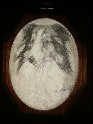 "VTG English Collie Dog Pin & Ink Artist Sherunn Mounted on 5""x 7"" Wooden Plaque"