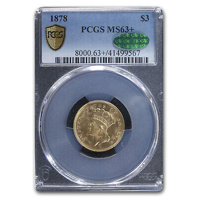 1878 $3 Gold Princess MS-63+ PCGS CAC - SKU#229293