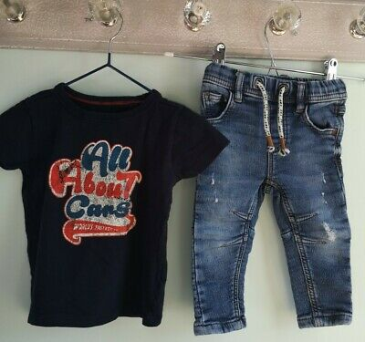 Baby Boys T-shirt & Trendy Denim Jeans Outfit Size 6-9 Months Next