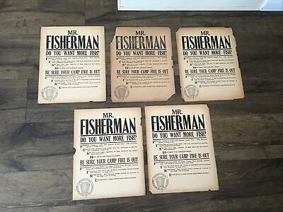 5 1920s PA Department Of Forestry Fire Prevention Poster Sign Fisherman Fishing
