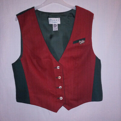 Perry Landhaus wool pretty red waistcoat green trim horn buttons 40