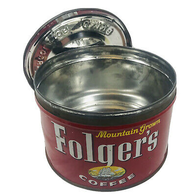 Vintage Folgers Regular Grind Coffee Tin Canco Can W Lid Mountain Grown Ground