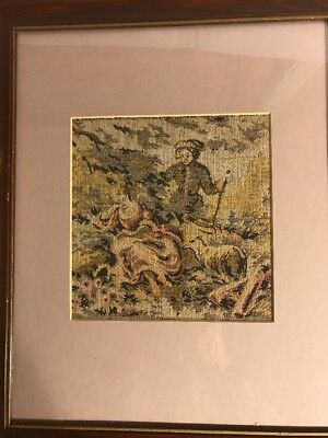 "Woven Tapestry, Victorian Style Scene, Framed, 6"" X 6"", 12"" X 14"" Overall"