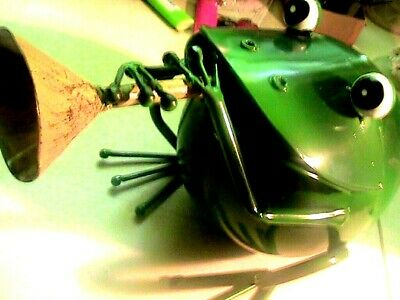 Frog with horn made from ,metal great display piece or musician