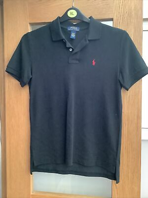Boys Ralph Lauren Black Polo Shirt With Red Horse M/ 10-12 Years 18 Inch Chest
