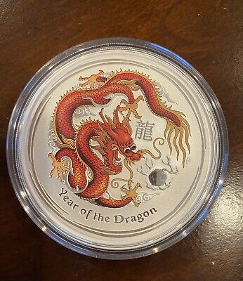 2012 Year of the Dragon Perthmint Color Silver Coin 2 oz Beautiful In Capsule