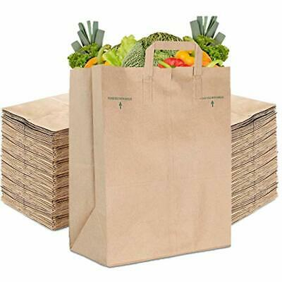 Stock Your Home 70 Lb Kraft Brown Paper Bags with Handles (100 Count)