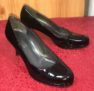 Stuart Weizman Russell & Bromley Black Patent Leather Court Shoes Uk 8 Eu 41