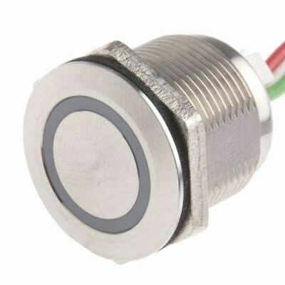 Push Button Touch Switch, Momentary, NO,Illuminated, Blue, IP68 Brass, 5 30V dc