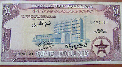 Ghana 1 One Pound Banknote Used Good Condition 1958