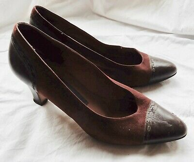 True Vintage Ladies Brown Suede and Brown Leather Shoes by Walkers Leather Soles