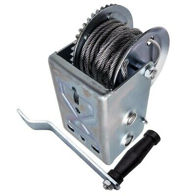 Manual Two Speed 2500 lbs 32' Hand Crank Cable Winch Dual Gear fit for car boat