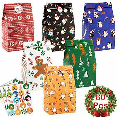 60 Pack Christmas Goody Bags Holiday Design Gift Treat Bags with 60pcs