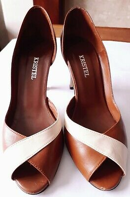 Vintage Tan Leather Heels By Kristel Size Eu 36.5 Made In Spain Used