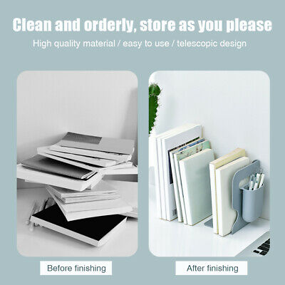 Multi Compartments Stationery Book Stand With Pen Holder Adjustable Bookend