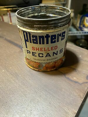 Planters Shelled Pecans vintage 1940's empty metal can