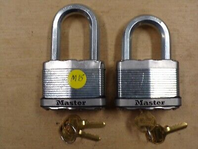 """Lot of 2 MASTER LOCK MAGNUM M15 OPEN PACKAGE EACH WITH 2 KEYS-3/8"""" SHACKLE--K/D"""