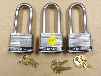 """Lot of 3 MASTER LOCK #5 OPEN PACKAGE WITH 2 KEYS-5/16"""" SHACKLE--"""