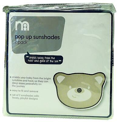 Mothercare Pack of 2 Pop Up Teddy Bear Car Vehicle Sun Shades Travel