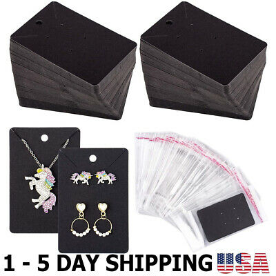 150 Pcs Necklace Earring Display Card with 200 Self-Seal Bags, Earring Black