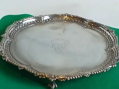 ANTIQUE VICTORIAN SOLID SILVER CARD TRAY 17.5 cm  carries crease dent not scrap