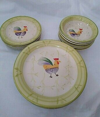 SCOTTS OF STOW Chicken/Cockerel Handpainted Set of 6 PLATES,SIDE PLATES & BOWLS