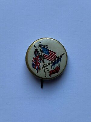 Vintage Antique WW1 Patriotic Celluloid Pin With Flags Of Britain USA France