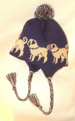 BABY HAT with a FAWN PUG dog design NEW knitted PURPLE TRAPPER- EARFLAP