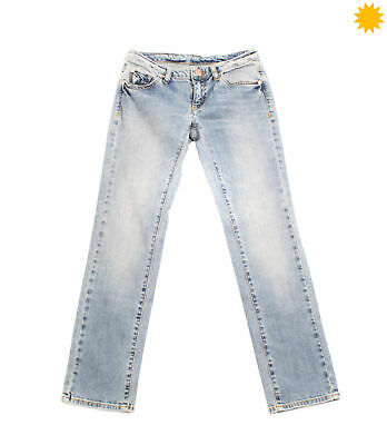 ARMANI JUNIOR Jeans Size 10Y / 142CM Stretch Distressed Faded Worn Look Zip Fly